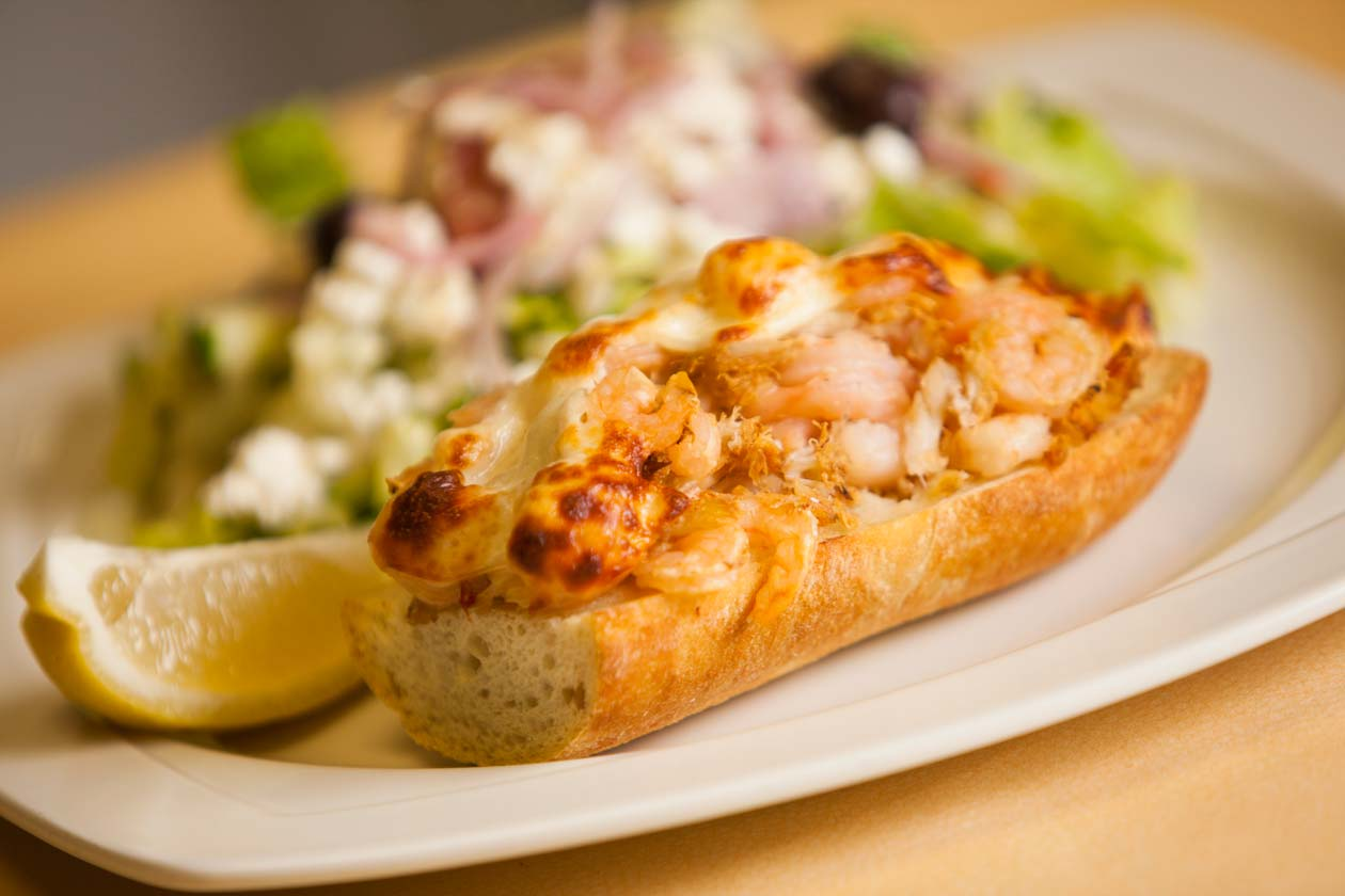 Seafood Melt with a greek salad